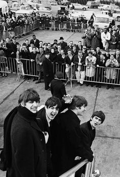 """5-golden-ringos: """" A Day In The Life - 7th February 1964: The Beatles' American invasion begins. """"The Beatles arrive in the United States for the first time on this day, being welcomed with extreme media coverage and rampant Beatlemania. The demands..."""