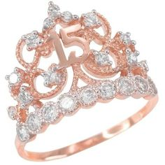 Amazon.com: 10k Rose Gold CZ-Studded Crown Sweet 15 Anos Quinceanera... ($130) ❤ liked on Polyvore featuring jewelry, rings, stud ring, crown jewelry, cubic zirconia jewelry, pink gold jewelry and crown ring