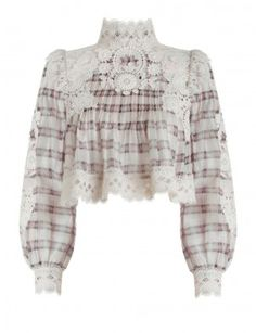 Bowerbird Plaid Blouse, from our Spring 17 collection, in Multi Check silk and linen blend organza, with contrasting cotton lace shoulder panels. Crop Top Shirts, Lace Crop Tops, Crop Shirt, Plaid Shirts, Crop Blouse, Cropped White Shirt, Cropped Tops, White Lace Blouse, White Blouses