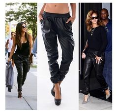 New 2014 Fashion Black Loose Harem Faux Leather Sweatpants Joggers Plus Size Pants High Street Fashion Women's Pants Six Size Cute Fashion, Fashion Pants, Fashion Outfits, Womens Fashion, Fashion Black, Style Fashion, High Street Fashion, Street Style Women, Street Chic