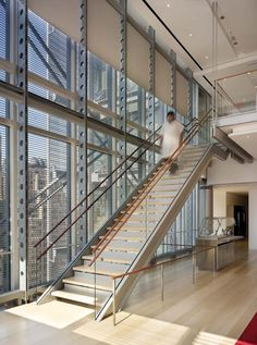 The New York Times Building interior stair by Renzo Piano