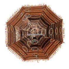 Indian Designer Hand Crafted Zari Embroidered Parasol Summer Cotton Umbrella #Handmade #Parasol