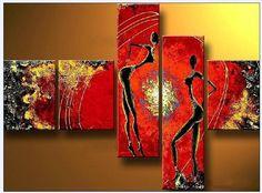 pintado a mano la pintura al óleo abstracta moderna decoración casera africana de la danza de la alta Q. en la madera del mixorde de la lona 5pcs/set capítulo
