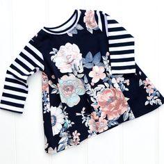 Girls Floral Print Dress, Baby Girls Dress, Toddler Dress, Girls A-Line Dress, Girls Spring Fashion, Print Jersey Dress, Scandi Style. by BespokeKidsClothing on Etsy
