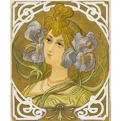 """Mary Golay """"Portrait of a Woman with Flowers and Earrings"""" (from Tetes de Femmes) French Art Nouveau Color Lithograph Design Art Nouveau, Art Deco, Anatomy Sketch, Monica Belluci, Art Textile, Alphonse Mucha, French Art, Dark Fantasy, Designer Wallpaper"""