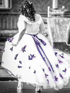 ... farbig schmetterlinge große Größe Hochzeitskleid für mollige Braut