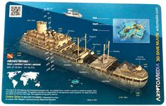 Art to Media Wreck Dive Site Map, Aikoku Maru, Truk Lagoon, Micronesia