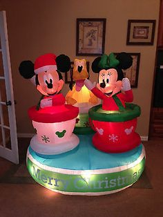 gemmy used christmas mickey minnie mouse pluto tea cups inflatable airblown
