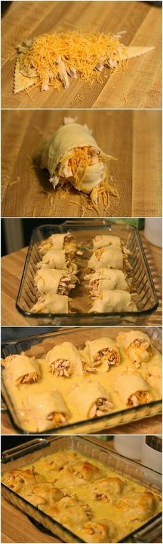 Amazing Dinner Idea! No link, but it seems pretty self explanatory.----I made this last night: I spread cream cheese on the crescent roll, put on a few pieces of spinach,  added chicken, topped with cheddar and mozzarella cheese and rolled. For the sauce I took cream of chicken, milk and cheddar cheese. I baked the crescent rolls without the sauce and used the sauce for dipping. The rolls were delicious without the sauce, so next time I'm going to go without.