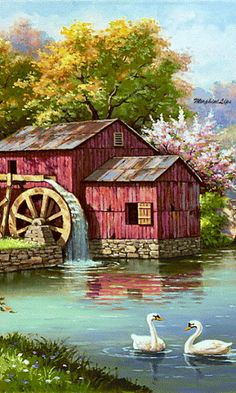 Swans, water wheel, lake and blooming trees on the picture Image Nature, Nature Images, Nature Pictures, Art Pictures, Nature Nature, Beautiful Gif, Beautiful Paintings, Beautiful Landscapes, Beautiful Pictures