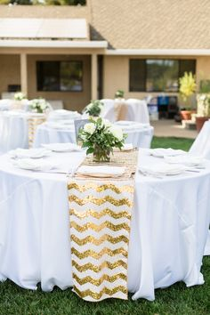 Reception Table Decor Gold Chevron Sequin Tablerunner White Tablecloth | Chico-California-Backyard-Wedding-4th-of-July-Wedding