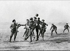 British and German troops forget about the war and play football in the Christmas truce of 1914.