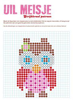strijkkraal patroon uil meisje, leuk patroon, ook om te borduren of om een pixeldeken te haken