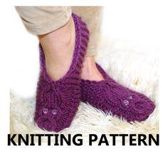 The owl knit slipper pattern women slipper knitting par ESTtoYou