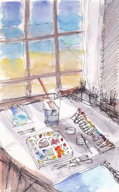 Stopped for Tea Watercolor by Laura Wilson | Artfinder
