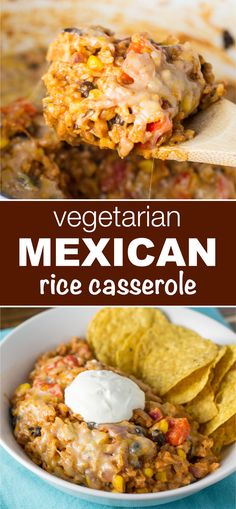 vegetarian mexican rice casserole makes enough to feed a crowd and tastes AMAZING - perfect for meatless monday!This vegetarian mexican rice casserole makes enough to feed a crowd and tastes AMAZING - perfect for meatless monday! Vegetarian Mexican Recipes, Vegetarian Recipes Dinner, Vegan Dinners, Vegetarian Rice Dishes, Mexican Casserole Vegetarian, Dinner Healthy, Vegan Casserole, Vegetarian Recipes For Families, Mexican Casserole With Rice
