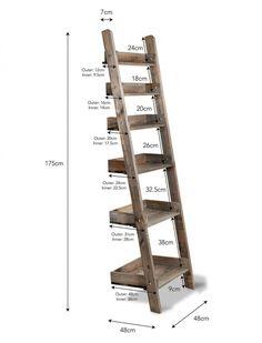 Wooden Aldsworth Shelf Ladder in Small or Large Ladder Shelf Decor, Wooden Ladder Shelf, Rustic Ladder, Diy Ladder, Ladder Shelves, Diy Wooden Shelves, Old Wood Ladder, Wooden Ladders, Small Ladder