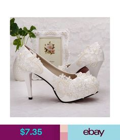 2017 new heel white ivory lace crystal pearls Wedding shoes pumps bride size 768a741cf733