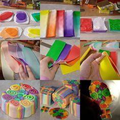 1.  Zutaten: jeweils 3 Rippchen transparent weiß, 1 Rippchen classic und 2 Rippchen transparent der entsprechenden Farbe  2.  Farbverläufe  transparent weiß - transparent farbe - classic farbe  3.  Farbverläufe zu Blöcken auffälteln  4.  Farbverlaufsblöcke platt machen und auf dickster Stufe nudeln  5.  zurechtschneiden  6.  jeweils zwei Farben zusammen aufrollen  7.  zur Cane arrangieren  8.  reduzieren  9.  voilá
