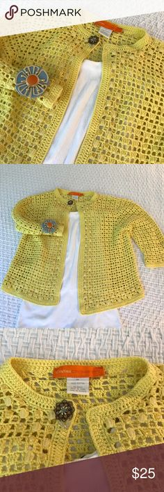 """Cynthia Cynthia Steffe yellow crochet sweater The best kind of yellow - bold and playful with some glass beads woven in. This 100% cotton sweater from Cynthia Cynthia Steffe has granny vibe at first glance with the brooch at the neck and the hook and eye closure but you can make this edgy or """"ugly fashion"""" by letting your imagination run wild. EUC, no spots or flaws and not stretched out. Pictured with Zac Posen cuff from Brooks Brothers. Not part of the listing. Cynthia Steffe Sweaters…"""