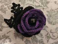 Victorian Steampunk Purple Black Crochet Flower Brooch Pin Hat Lapel Pin