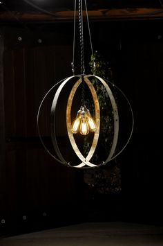 Wine barrel hoops and Edison lights