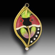 Jennifer J. Park Cloisonne enamel, 22/18k gold, granulation, black diamond, white sapphire