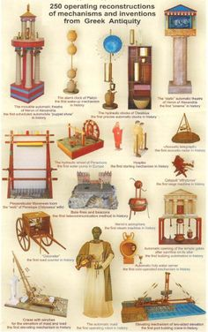 various Greek inventions from the era, including looms to create fabric.