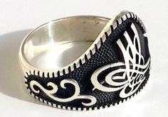 925 STERLING SILVER MEN'S ARCHER'S RING WITH OTTOMAN TUGHRA #Handmade