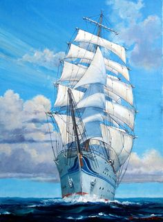 -Triumphant Return- He was particular about beauty of the blue sky. As you can see, this work is drawn based on enormous plan. Beach Sketches, Old Sailing Ships, Sea Pictures, Classic Sailing, Sailboat Painting, Stormy Sea, Sea And Ocean, Tall Ships, Ship Art