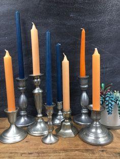 Vintage Candle Holders, Candlestick Holders, Romantic Wedding Decor, Wedding Decorations, Etsy Vintage, Tablescapes, Pewter, Vintage Fashion, Metal