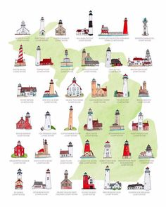 This is an illustration of light houses from michigan Different Architectural Styles, House Sketch, Road Trip Essentials, Diy Solar, Great Lakes, Sustainable Design, Real Estate Marketing, Solar Power, Night Light