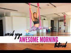 Aerial Yoga for An Awesome Morning Tutorial - Margie Pargie Aerial Hammock, Aerial Yoga, Aerial Silks, Yoga Inversions, Vinyasa Yoga, Yoga Videos, Workout Videos, Workouts, Inversion Therapy