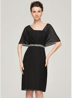 Sheath/Column V-neck Knee-Length Chiffon Mother of the Bride Dress With Ruffle Beading Sequins (008062574)