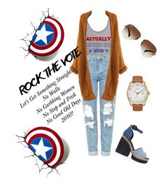 """""""Rock The Vote!!! Let's Get Something Striaght!!!"""" by lindsaywittaa on Polyvore featuring Topshop, Pierre Hardy, Ray-Ban and Nixon"""