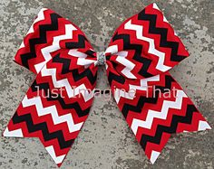 """3"""" Width Cheer Bow 7""""x6.5"""" Texas Size Cheer Bow Red Black and White Chevron $6.00 by JustImagineThatBows on Etsy"""
