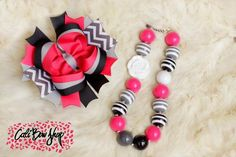 custom over the top hair bow and matching bubblegum chunky necklace hot pink grey gray and black with chevron and stripes https://www.facebook.com/CaliBowShop
