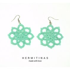 Aqua Green Tatted Earrings 8 Petals Flowers Tatted by Hermitinas