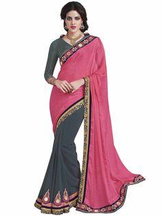 Melluha Pink And Grey Crepe Jacquard Half And Half Party Wear Sari