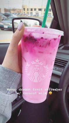 Starbucks Mango Dragonfruit Refresher with Coconut Milk - Cocktail rezepte - Drinks Bebidas Do Starbucks, Copo Starbucks, Secret Starbucks Recipes, Starbucks Hacks, Healthy Starbucks Drinks, Starbucks Secret Menu Drinks, Starbucks Refreshers, Healthy Drinks, Starbucks Smoothie