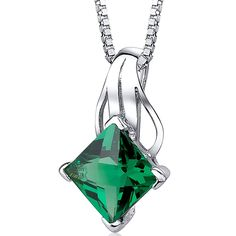 Simulated Emerald Princess Cut Pendant Sterling Silver 2.00 Carats >>> You can get more details here : Jewelry Necklaces