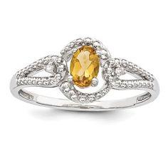 Sterling Silver Citrine & Diamond November Birthstone Ring
