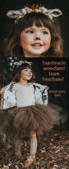 Adorable handmade fawn headband with faux fur ears and surrounded by woodland berries, pinecones and other rustic findings. Adult and child sizes, perfect for a fawn, deer, or other woodland creature costume. #fawn #deer #costume #headpiece #crown #hallow