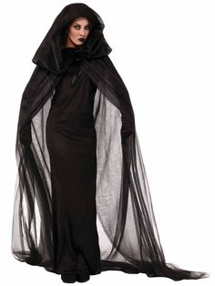 Women's Black Haunted Cape & Dress Costume | Wholesale Horror Costumes for Women