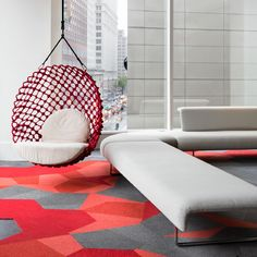Shaw Contract has opened the doors to our Greetings from the Shaw Contract New York showroom. Designed by Rockwell Group and overlooking Union Square, this space is inspired by the city - and designed to inspire.  Product from our Configure carpet tile collection featured in this image. #madebydesign #shawconfigure