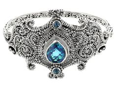 Artisan Gem Collection Of Bali(Tm) Caribbean Quartz Triplet & .50ctw Swiss Blue Topaz Silver Bangle