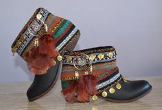 ETHNIC, HIPPIE, BOHO boots, Tribal, Gypsy, Women, Multicolor Boots, Bohemian Boots, Made to order in your size with some variations on Etsy, $112.38