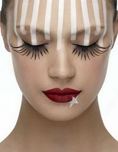 um... probably would never do white stripes like that down my forehead, but I LOVE the lips with the white star!