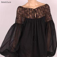 Black cotton Demetria blouse