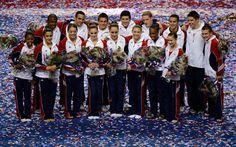 The USA gymnastics team poses for a photo